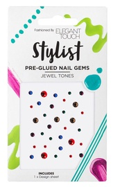 Elegant Touch Stylist Pre Glued Nail Gems Jewel Tones