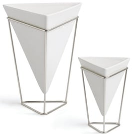 Umbra Trigg Vases White/Nickel 2pcs