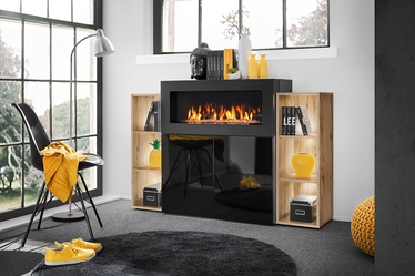 ASM Camino Chest Of Drawers LED w/ Fireplace Black/Wotan Oak