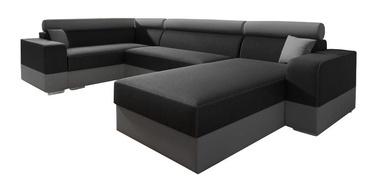 Угловой диван Idzczak Meble Infinity Super Black/Grey, 336 x 185 x 93 см
