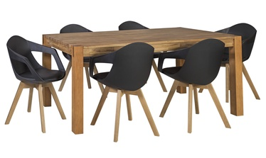 Home4you Chicago/Stuart Dining Room Set Oak/Black