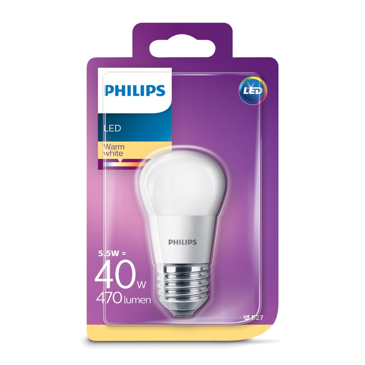 Lambipirn Philips 5,5W LED E27 P45 470LM