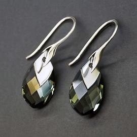 Diamond Sky 925 Sterling Silver Earrings Baroque II Black Diamond Light Chrome with Crystals From Swarovski