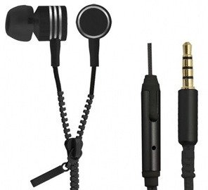 Esperanza Zipper Earphones w/Mic Black