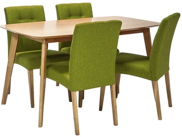 Home4you Dining Set Enrich 4 Oak/Green