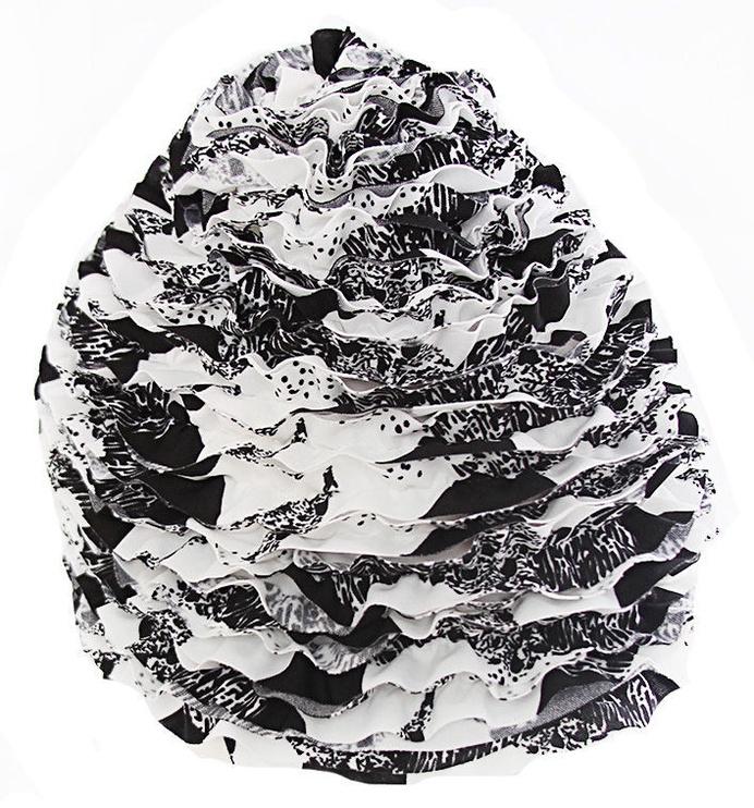 Fashy Frill Swim Cap 3449 22 Black White
