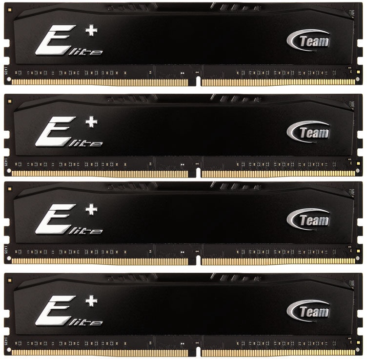 Team Group Elite Plus Black 16GB 2133MHz CL15 DDR4 KIT OF 4 TPKD416G2133HC15QC01