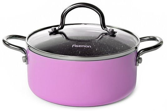 Fissman Mini Chef Casserole With Glass Lid D16cm 1.3l Pink