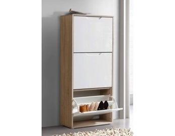 Шкаф для обуви Forte SNND33-P94F, коричневый/белый, 279x552x1279 мм