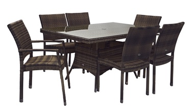 Home4you Wicker Garde Table And 6 Chairs Set Dark Brown