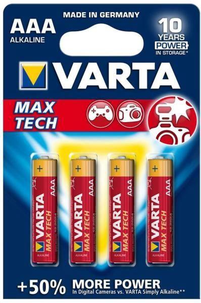 Varta Max Tech Alkaline Batteries R3 4x AAA