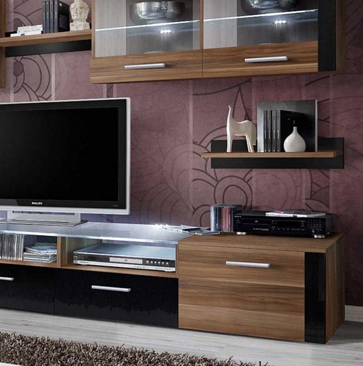 ASM Zoom Living Room Wall Unit Set Plum/Black