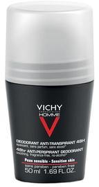 Meeste deodorant Vichy Homme 48h Anti-Perspirant Roll On for Sensitive Skin, 50 ml