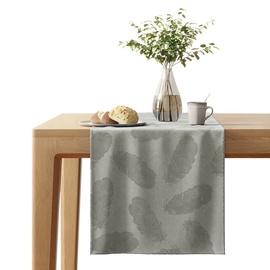 AmeliaHome Velvet AH Tablecloth Peacock Silver 40x140cm