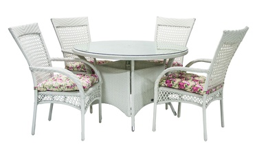 Home4you Whistler Garden Table And 4 Chairs White