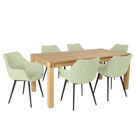 Home4you Chicago New/Naomi Dining Set 6 Chairs Oak/Green