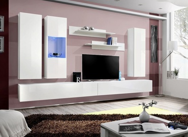 ASM Fly E Living Room Wall Unit Set Horizontal Glass White/White Gloss