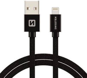 Swissten Textile Lightning Data and Charging USB Cable 3m Black