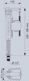 Wirquin Joyfill 1/2 Bottom Inlet Supply Metallic