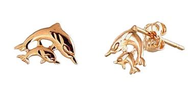 Diamond Sky Gold Earrings Dolphin Love X