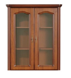 Black Red White Natalia NAD100 Glass Door Cabinet Cherry Wood