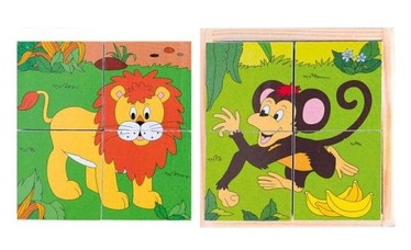 Woodyland Picture Cubes Puzzle Safari 4pcs 90921