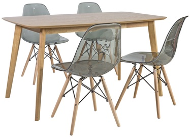 Home4you Dining Set Enrich 4 Oak/Transparent Grey