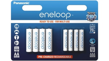 Panasonic Eneloop R6/AA 1900mAh 4 Pcs + R03/AAA 750mAh 4 Pcs Blister