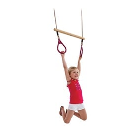 SN Wooden Ring Trapeze With Plastic Rings 58cm Red