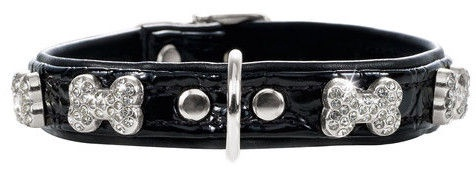 Hunter Collar Modern Art Fashion Kroko Bone 40 Black