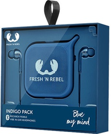 Fresh 'n Rebel Vibe In-Ear Earphones + Rockbox Pebble Indigo