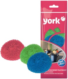 York Dish Plastic Scrubber 3pcs