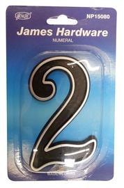 """James Hardware Numeral """"2"""" 150mm Black"""