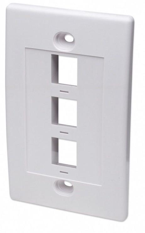 Intellinet 3-Port Keystone Wall Plate White