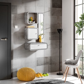 ASM Wally III Hallway Wall Unit Set Gray/Glossy White