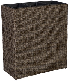 Home4you Flower Box Wicker 77x22xH80cm Dark Brown