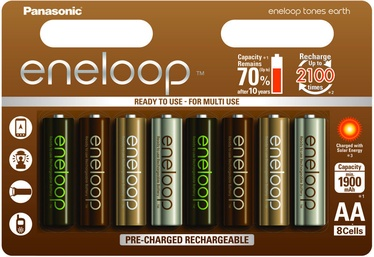 Panasonic Eneloop Earth Rechargeable Batteries 8 x AA 1900mAh