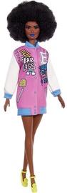 Mattel Barbie Fashionistas Doll Afro Brunette Wearing Graphic Coat Dress GRB48