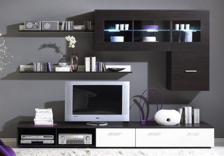 Cama Meble Wall Unit Logo I With Lights Wenge
