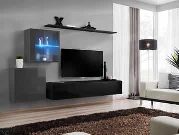 ASM Switch XV Living Room Wall Unit Set Graphite/Black
