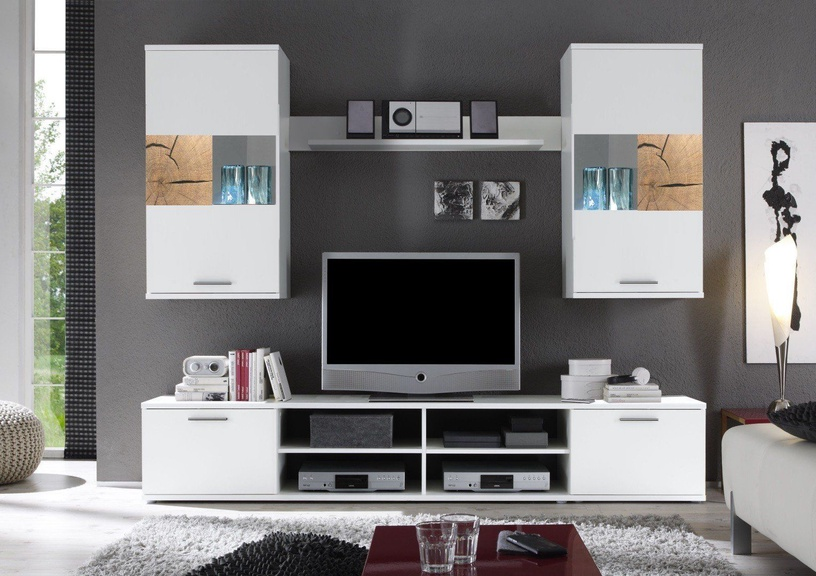 Black Red White Spalt 2 Wall Unit White/Oak Core