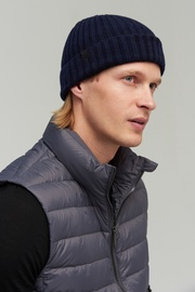 Audimas Knitted Merino Wool Hat With Cashmere One Size Navy