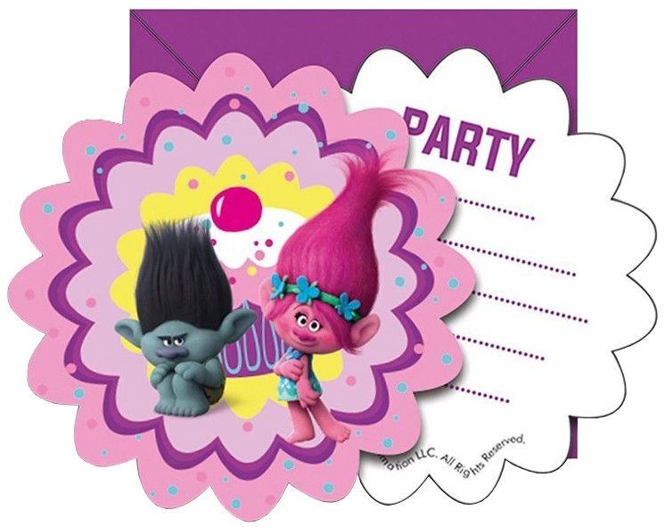 Procos DreamWorks Trolls Party Invitations