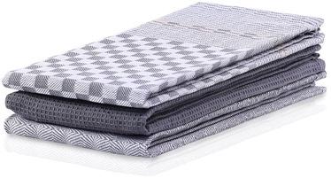 DecoKing Louie Kitchen Towel Set 50x70 Charcoal 3pcs