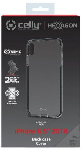 Celly Hexagon Back Case For Apple iPhone XS Max Transparent/Black