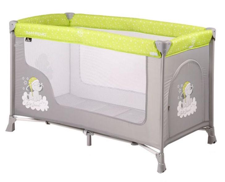 Beroni Lorelli San Remo I Baby Cot Elephants Green/Grey