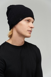 Audimas Knitted Merino Wool Hat With Cashmere Black