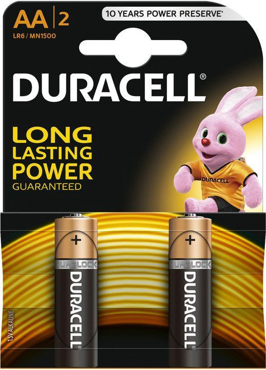 Duracell Alkaline Long Lasting Power Batteries 2xAA