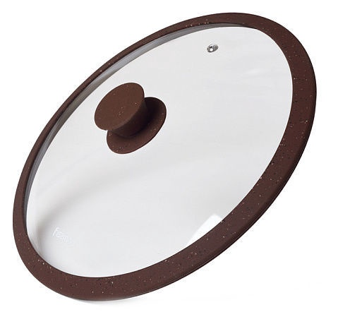 Fissman Arcades Lid With Marble Silicone Rim Dark Brown D28cm