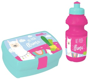 Must Plastic Set 2in1 Lunch Box & Bottle 350ml Pink With Llama